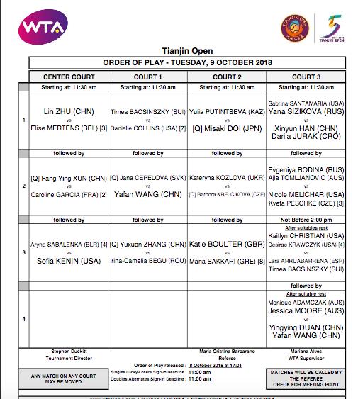 WTA TIANJIN 2018 Capt1904