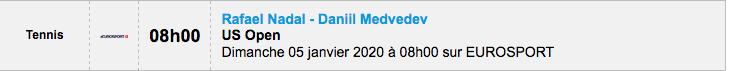 TENNIS PROGRAMME TÉLÉVISION 2020 Capt7353
