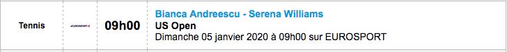 TENNIS PROGRAMME TÉLÉVISION 2020 Capt7354