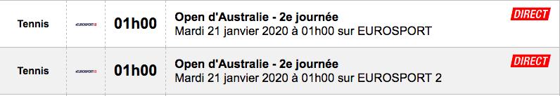 TENNIS PROGRAMME TÉLÉVISION 2020 Capt7661