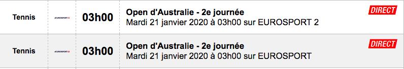 TENNIS PROGRAMME TÉLÉVISION 2020 Capt7662
