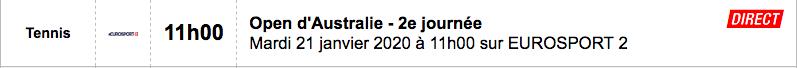 TENNIS PROGRAMME TÉLÉVISION 2020 Capt7664