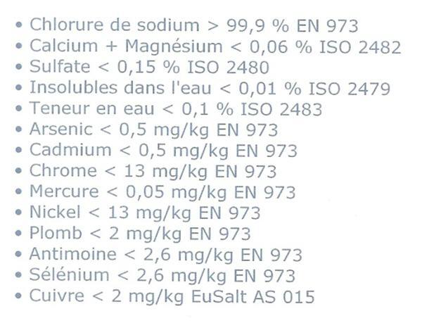 sel pour picine ou sel pour adoucisseur ? Norme_10