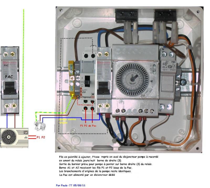 Branchement électrique PAC, electrolyseur et contrôleur PH Tablea16