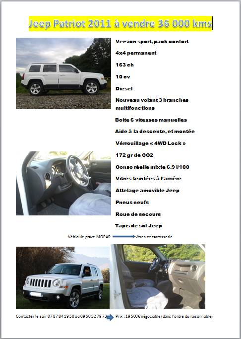 [VENDU] Jeep Patriot à vendre Annonc10