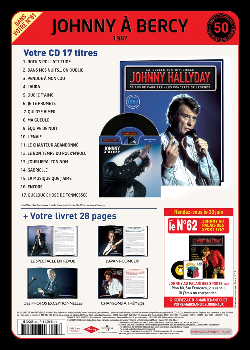 Volume 61 Johnny à Bercy 1987 Jhcoll30
