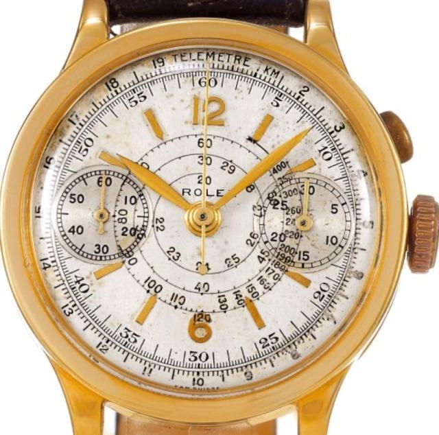 PIECE EXCEPTIONNELLE : TRES RARE Rolex chronograph 2 compteurs, anses articulées, référence 2705, numéro 38325,  acier des années 30; toute signée. - Page 3 Captur10