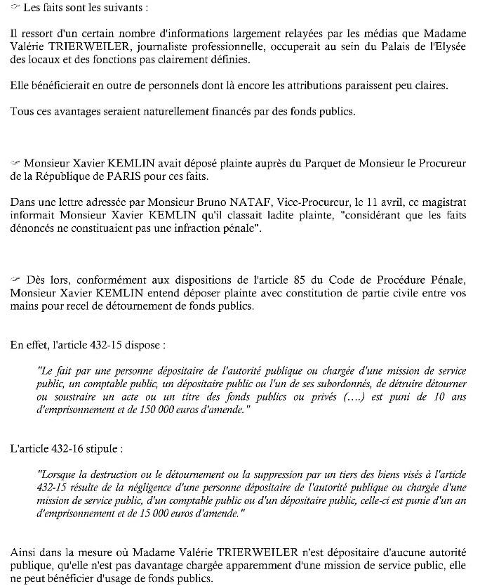 2ème plainte de Xavier Kemlin le 25 avril avec constitution de partie civile  2ame_p10