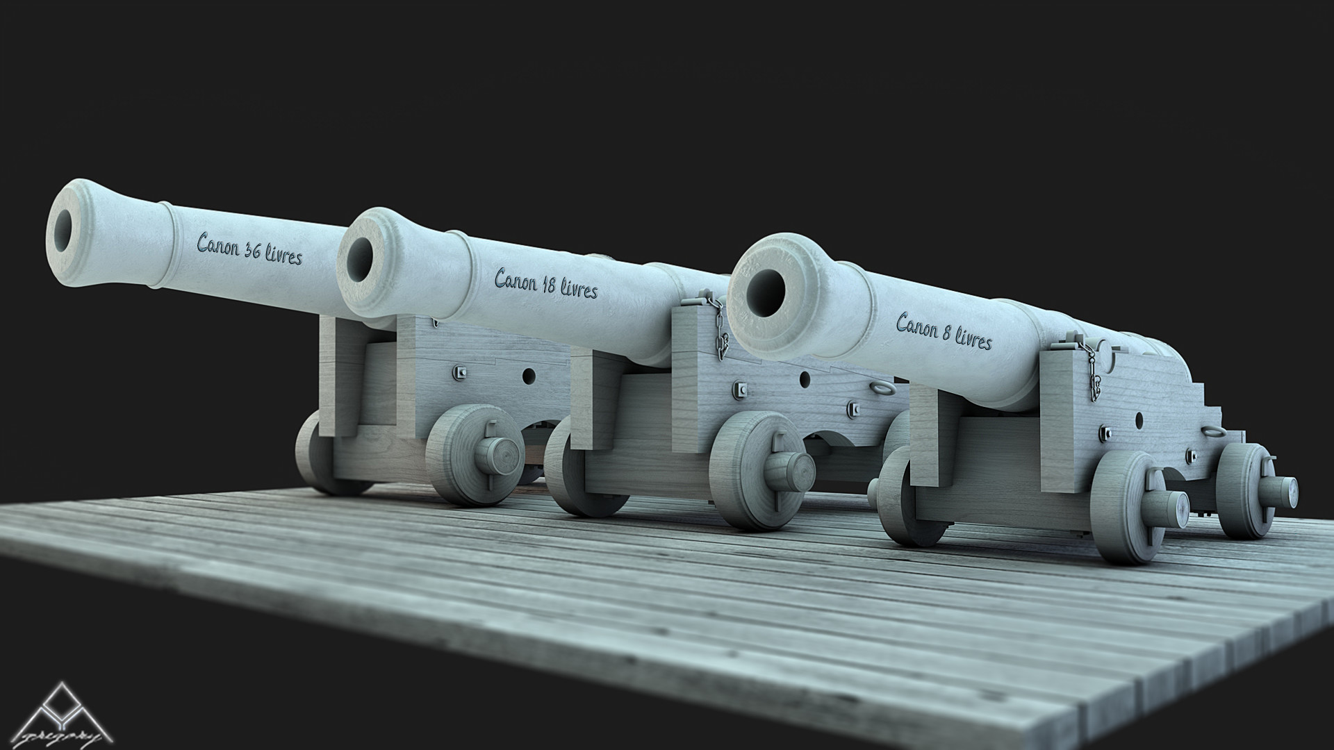Canons vaisseau de 74 canons par Greg_3D - Page 2 Ensemb13