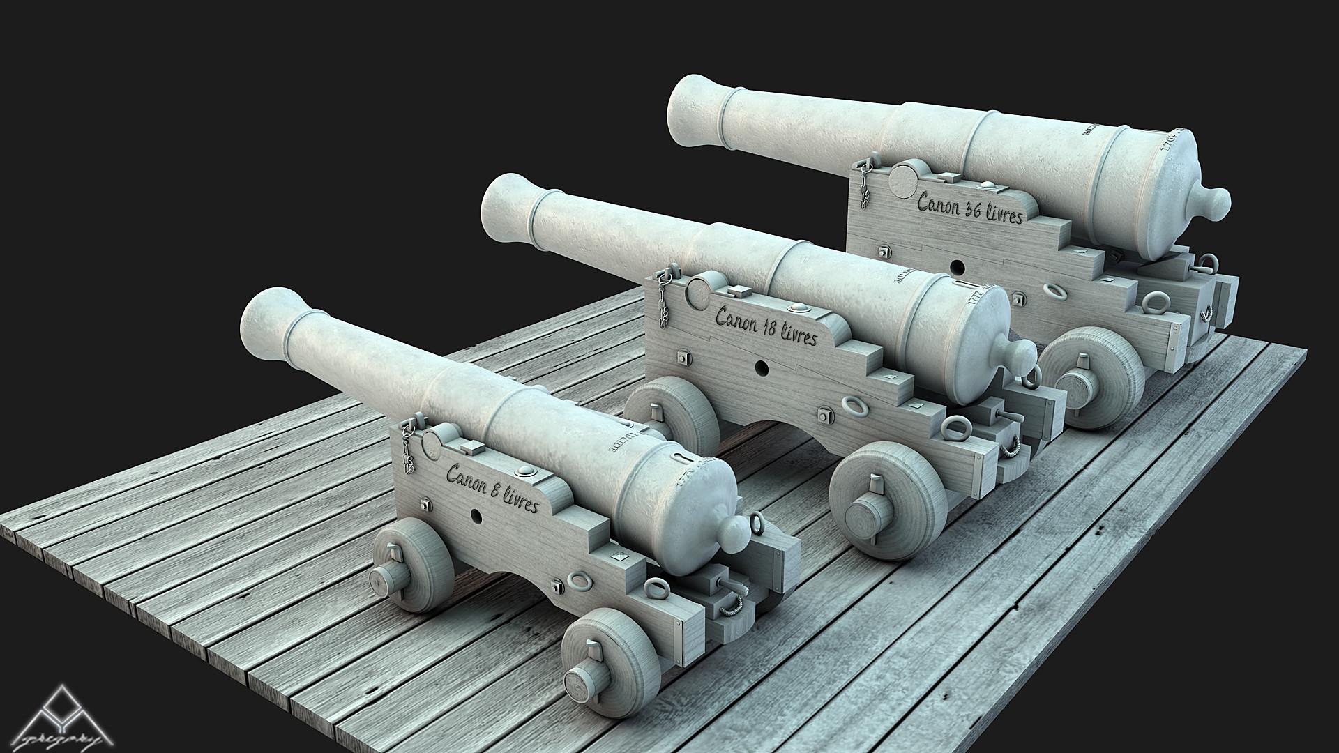 Canons vaisseau de 74 canons par Greg_3D - Page 2 Ensemb14