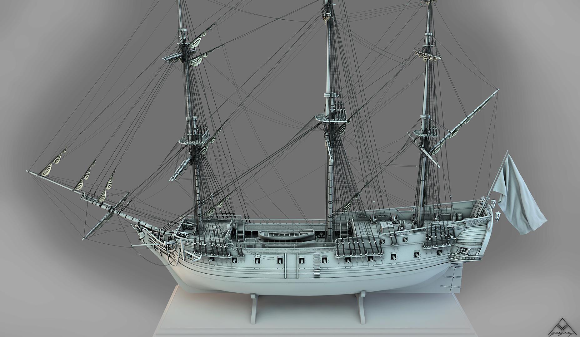 Frégate 36 canons XVIII° (Création 3D) par Greg_3D - Page 8 Frzoga18