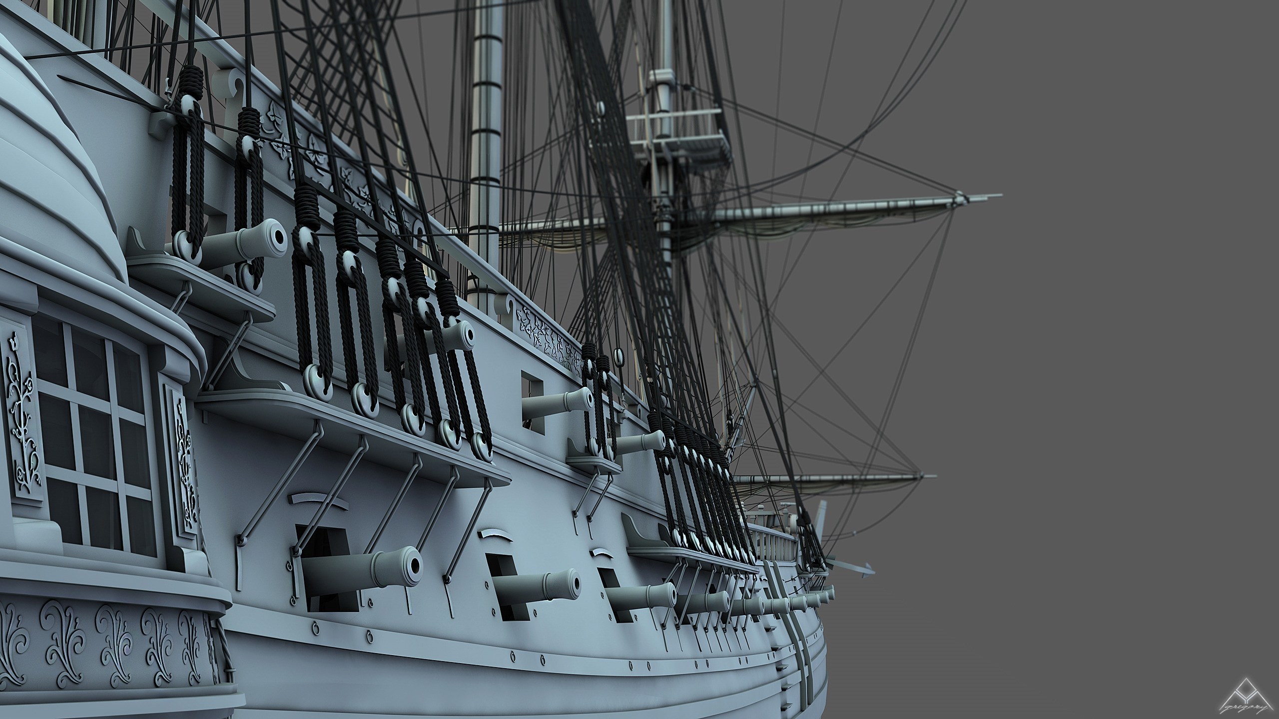 Frégate 36 canons XVIII° [Création 3D] par Greg_3D - Page 9 Frzoga30