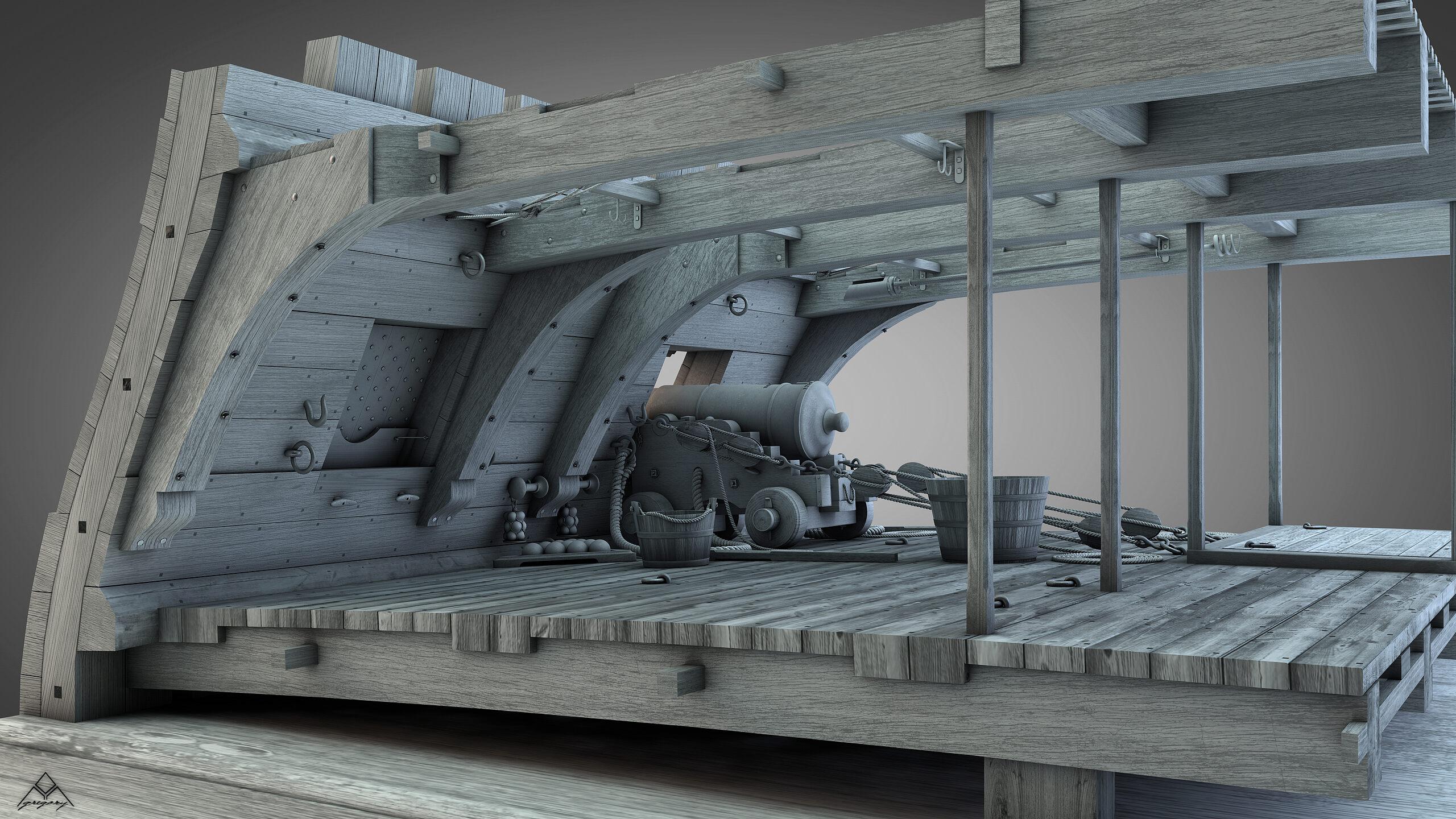 Canons de vaisseau 74 canons (Création 3D) par Greg_3D - Page 9 Gregor55