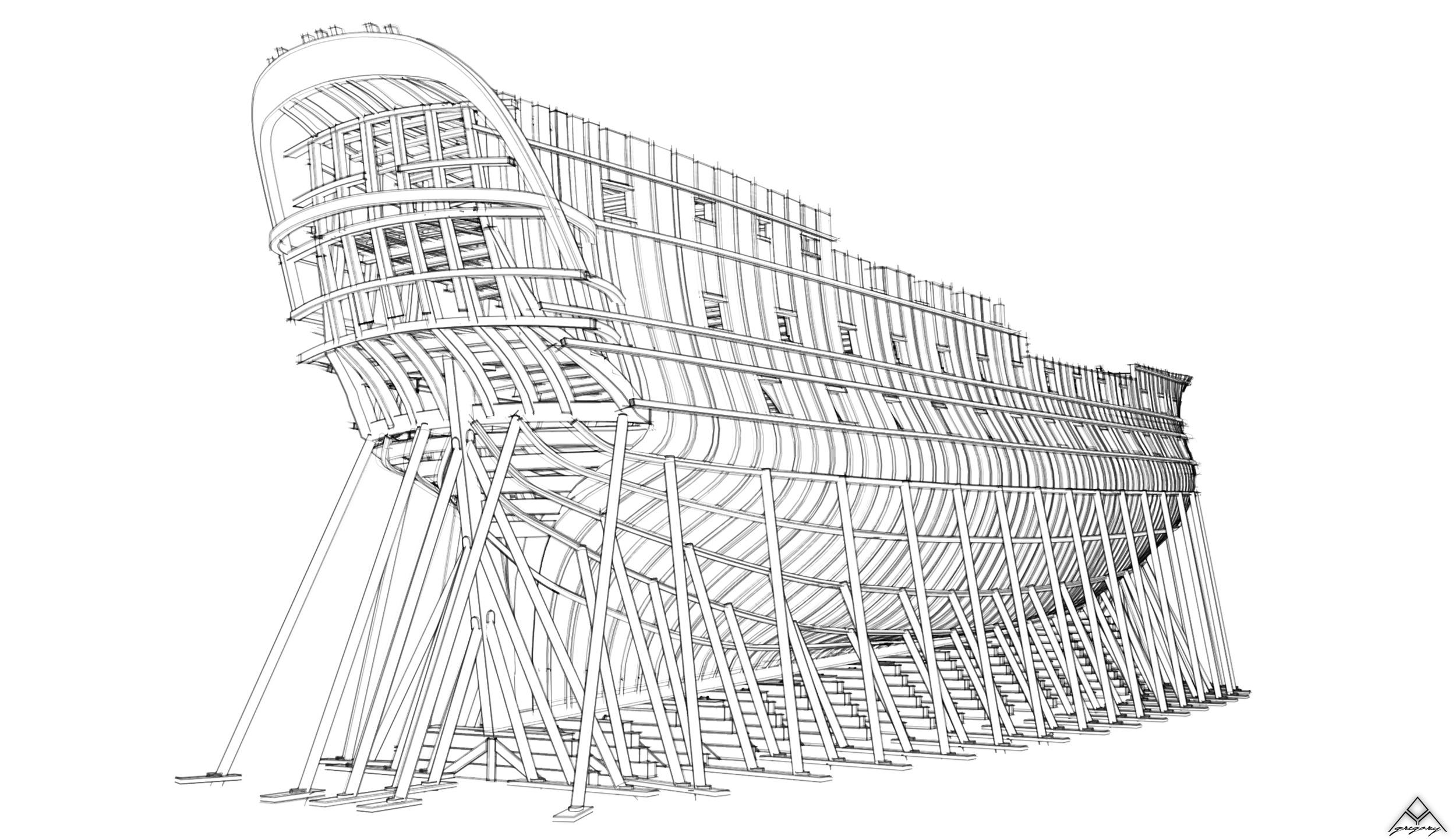 Réalisation d'un vaisseau de 74 canons Navire18