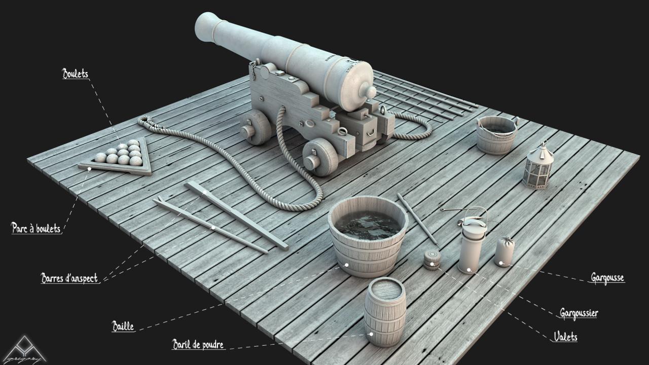 Canons vaisseau de 74 canons par Greg_3D Outill10