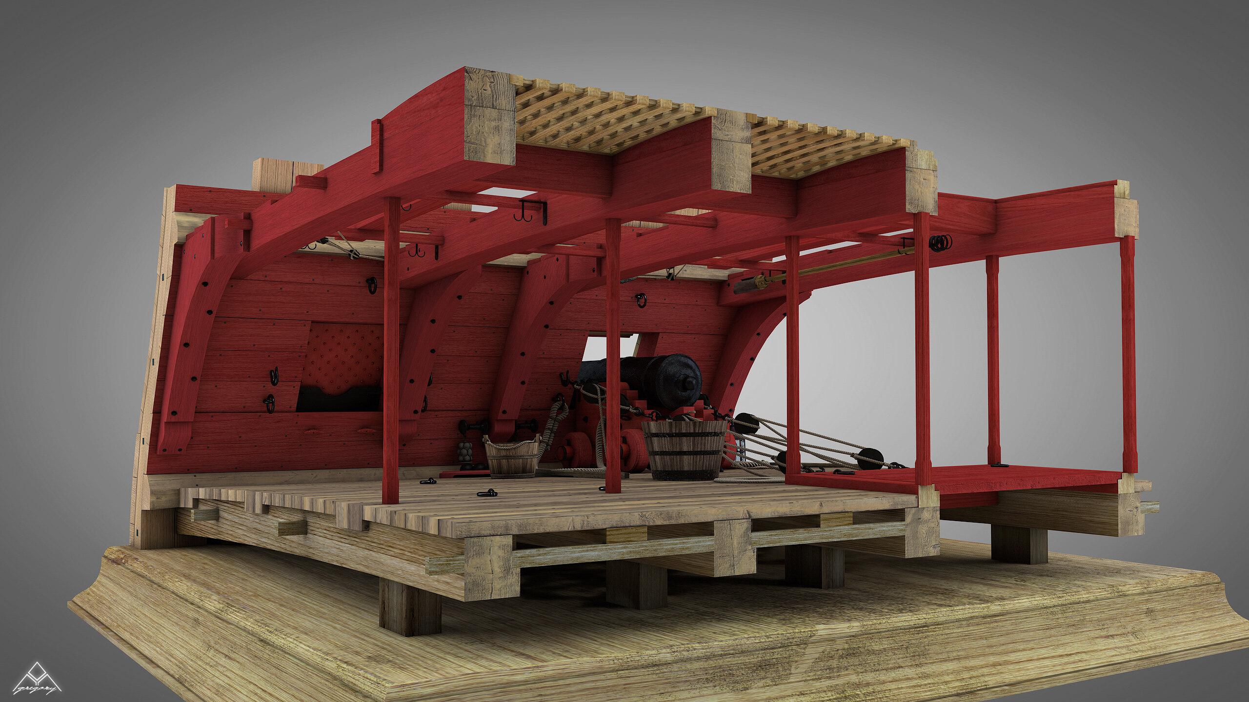 Canons de vaisseau 74 canons (Création 3D) par Greg_3D - Page 7 Rendu101