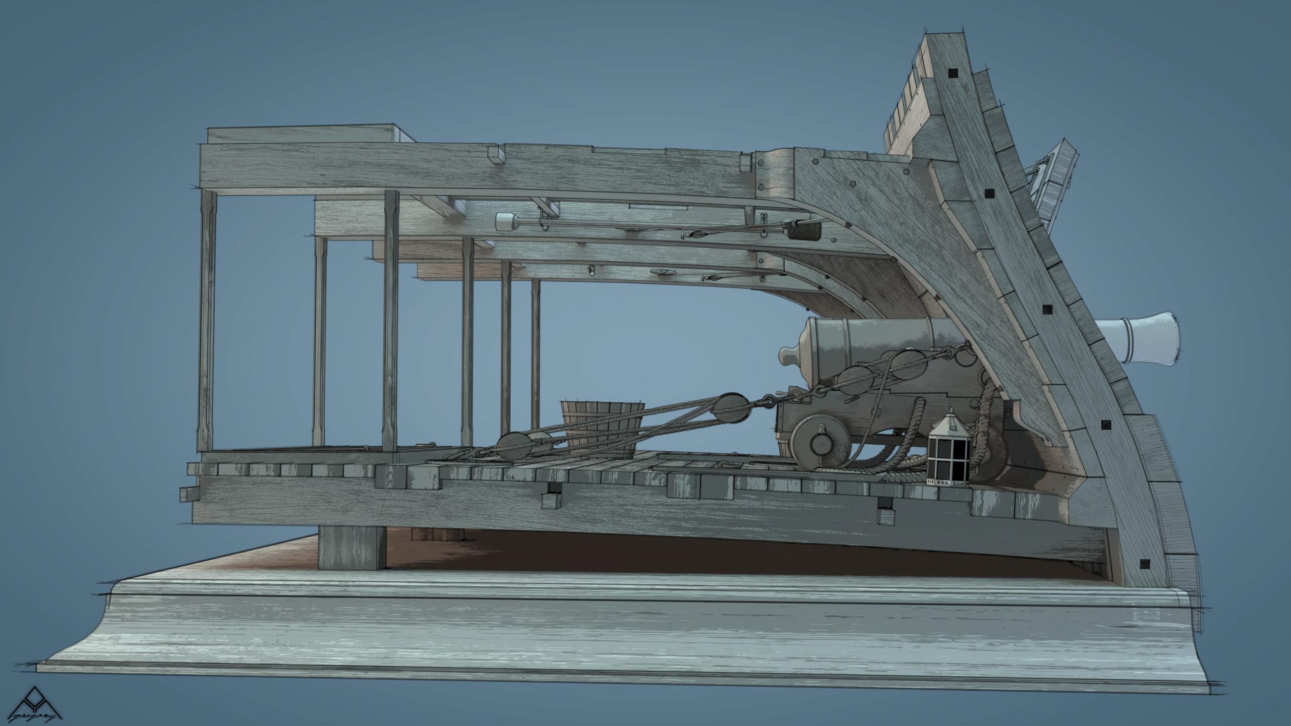 Canons de vaisseau 74 canons (Création 3D) par Greg_3D - Page 9 Rendu110
