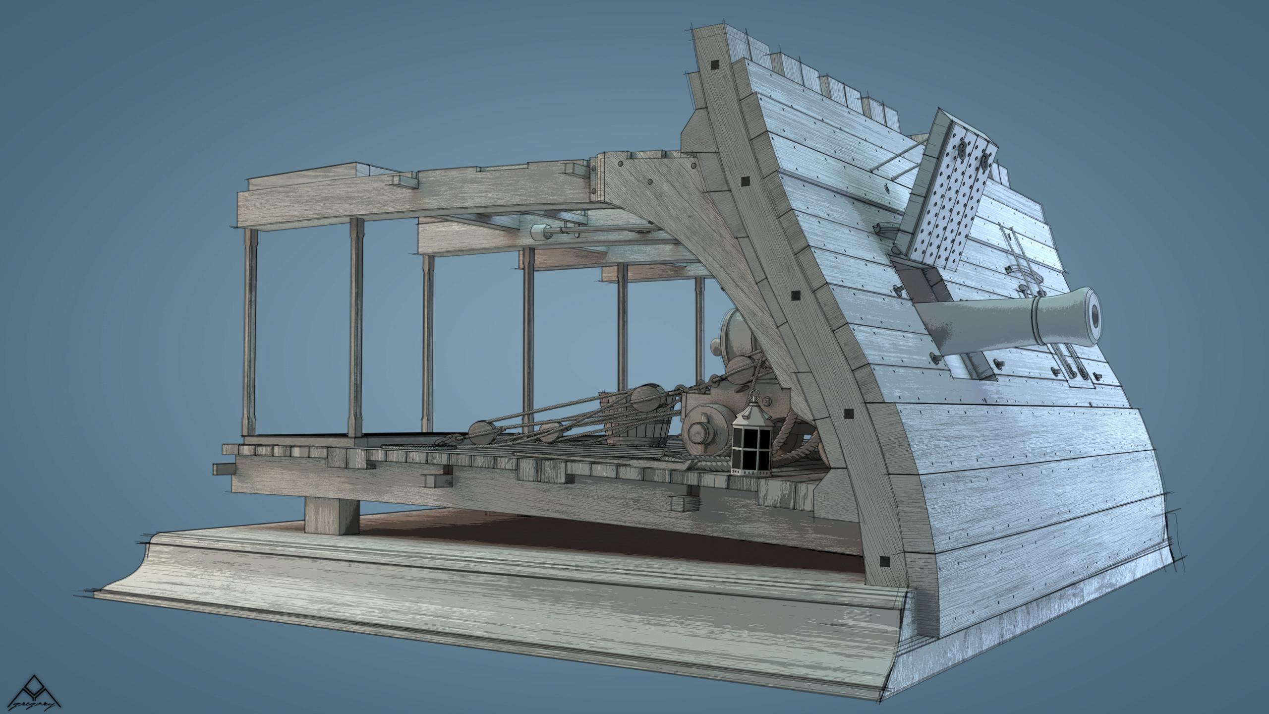 Canons de vaisseau 74 canons (Création 3D) par Greg_3D - Page 9 Rendu111