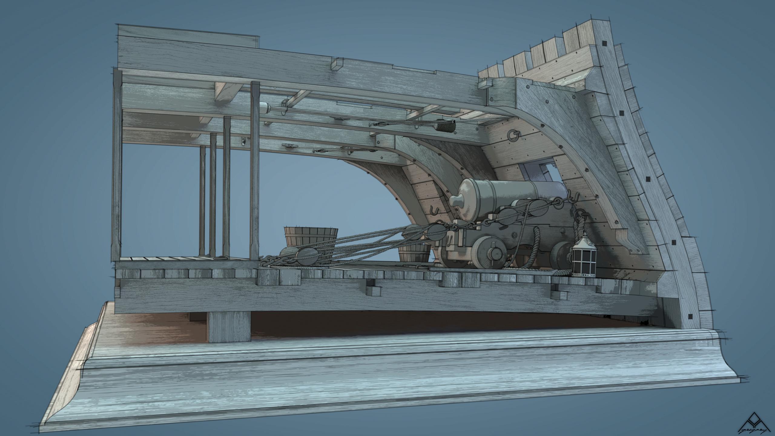 Canons de vaisseau 74 canons (Création 3D) par Greg_3D - Page 9 Rendu112
