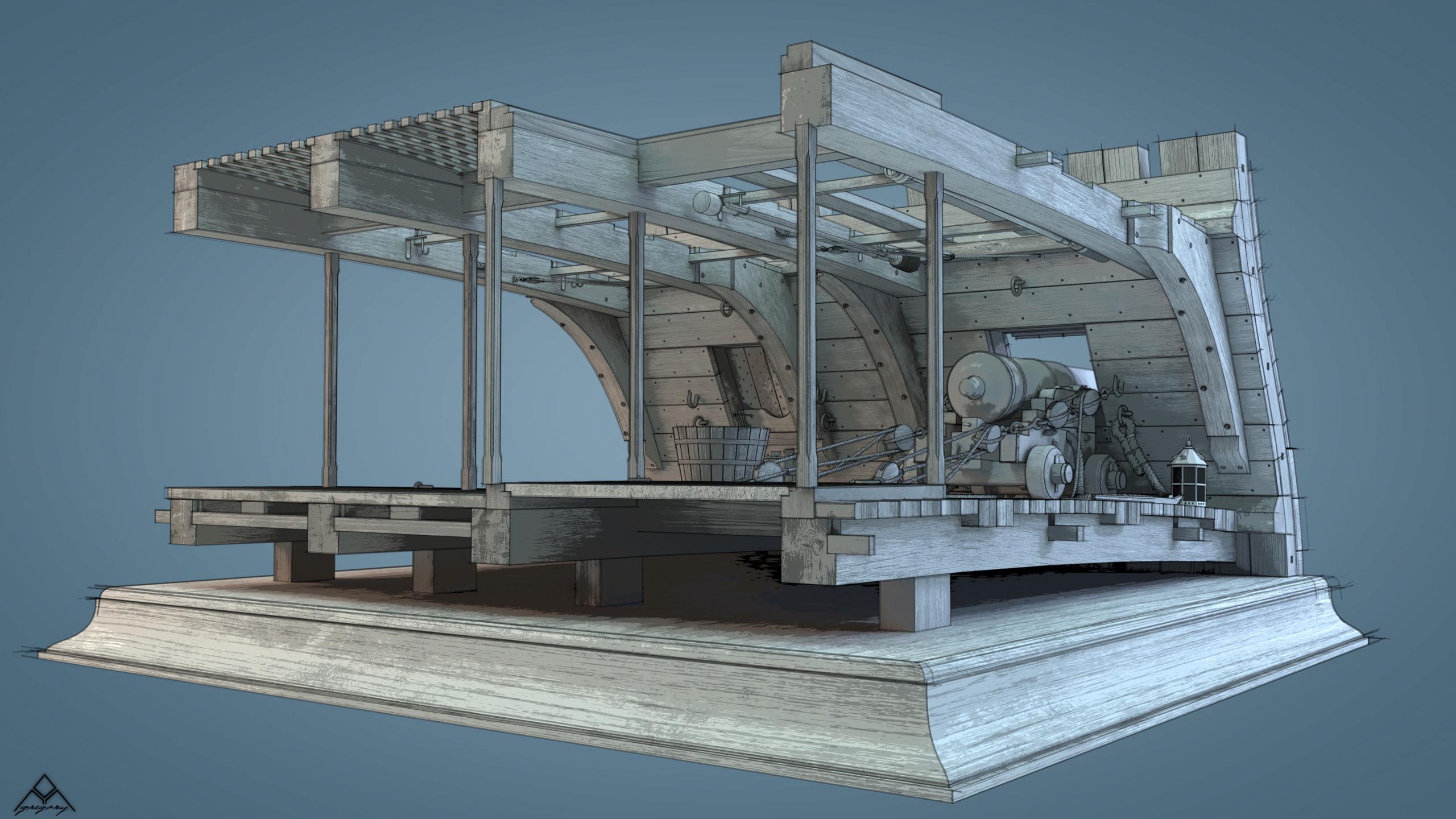 Canons de vaisseau 74 canons (Création 3D) par Greg_3D - Page 9 Rendu114