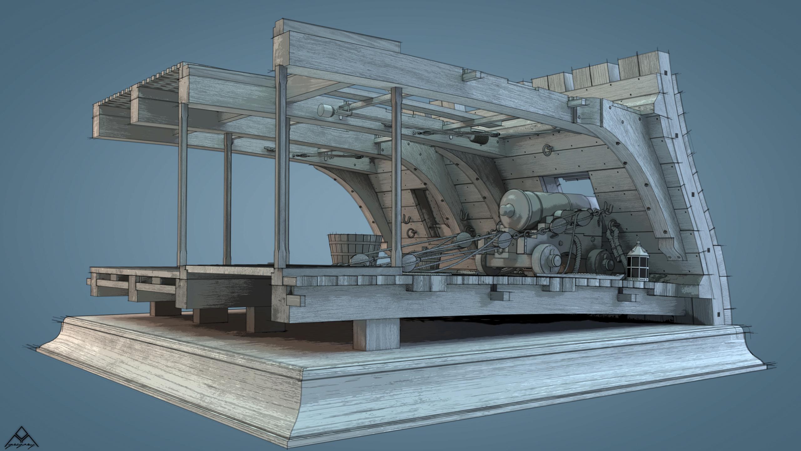 Canons de vaisseau 74 canons (Création 3D) par Greg_3D - Page 9 Rendu115