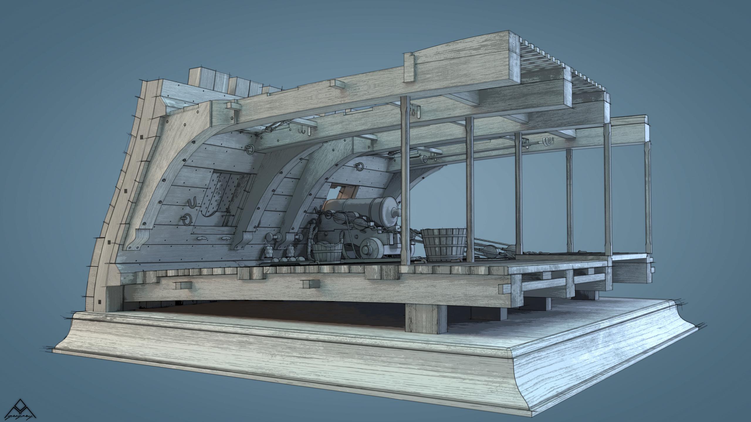 Canons de vaisseau 74 canons (Création 3D) par Greg_3D - Page 9 Rendu116