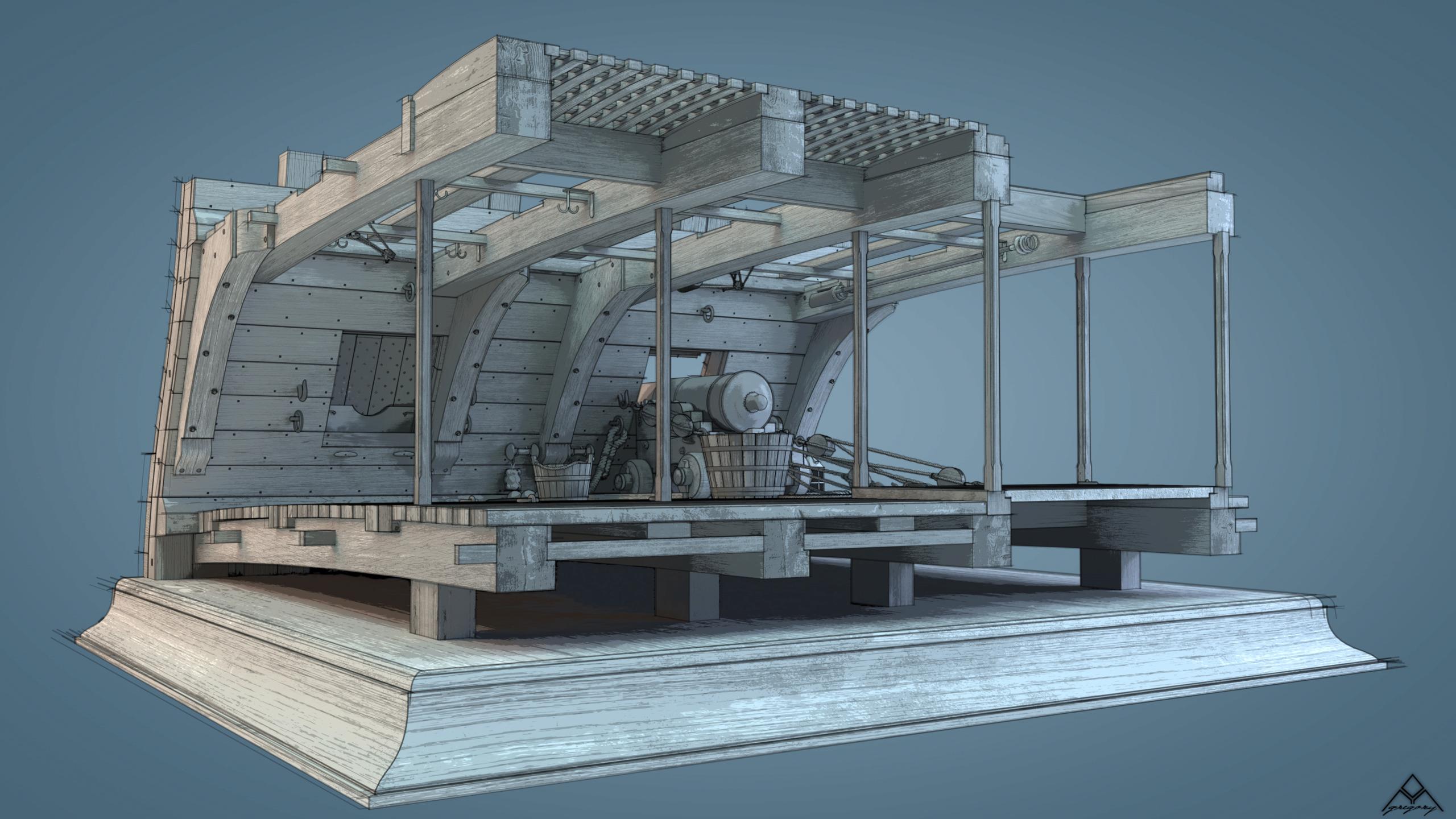Canons de vaisseau 74 canons (Création 3D) par Greg_3D - Page 9 Rendu117