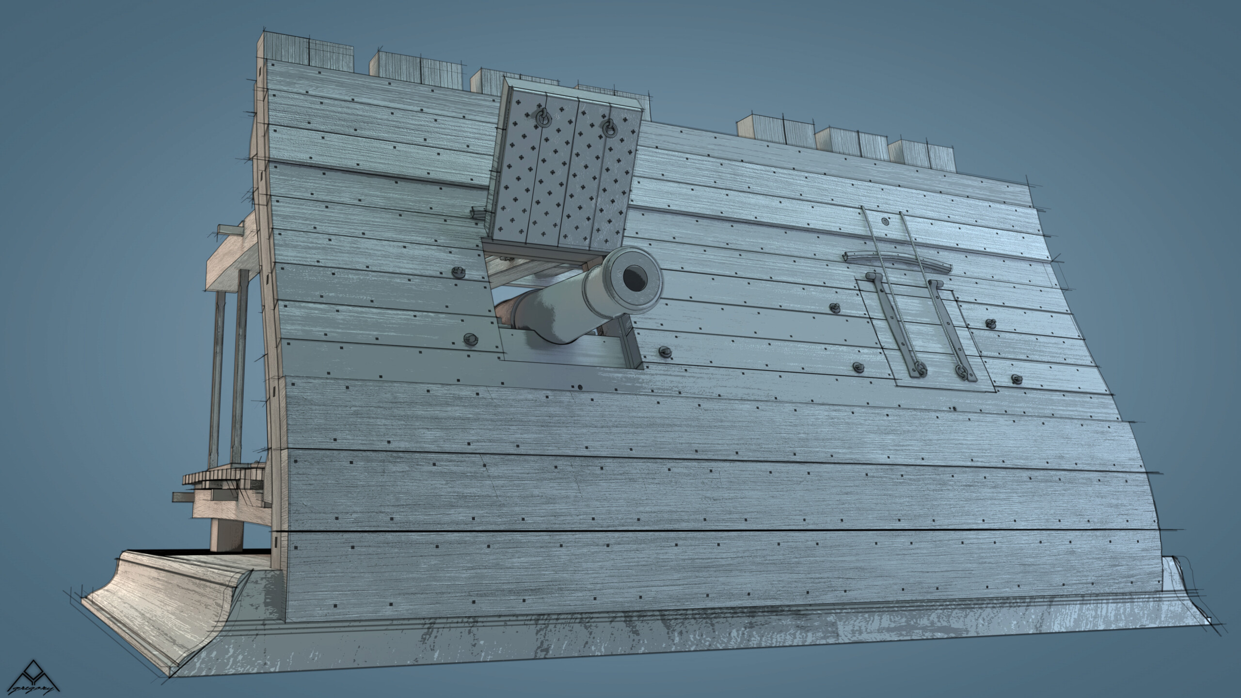 Canons pour le vaisseau de 74 canons - Page 13 Rendu124