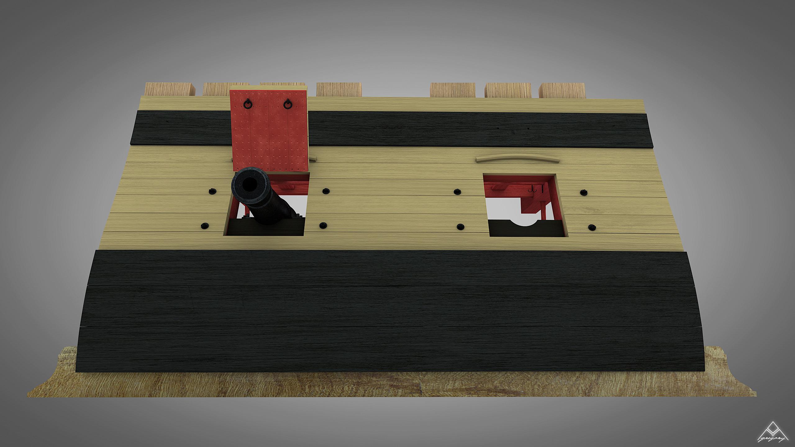 Canons de vaisseau 74 canons (Création 3D) par Greg_3D - Page 4 Rendu_46