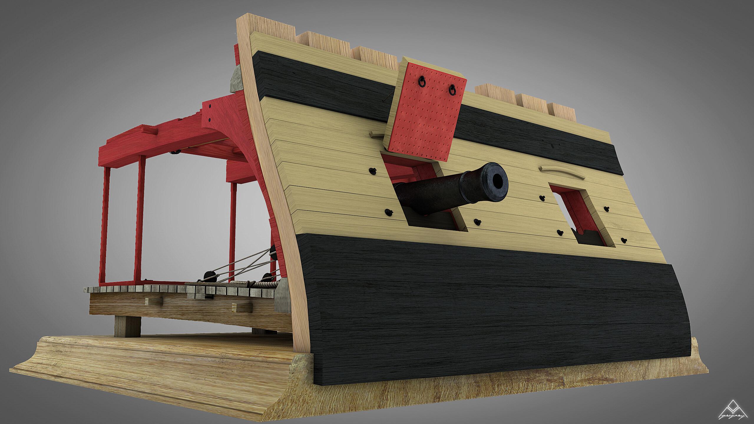 Canons de vaisseau 74 canons (Création 3D) par Greg_3D - Page 4 Rendu_48
