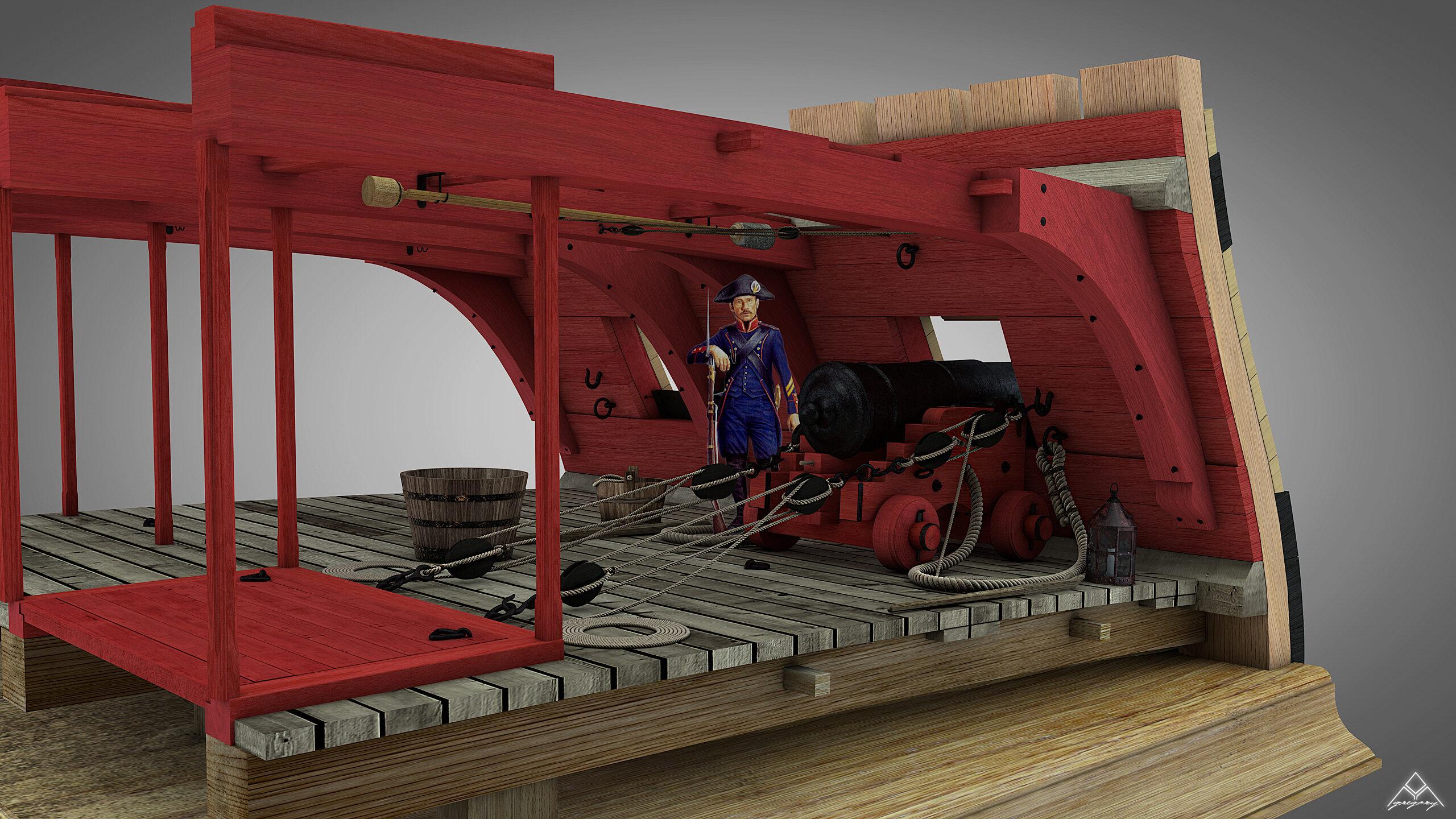 Canons de vaisseau 74 canons (Création 3D) par Greg_3D - Page 4 Rendu_53