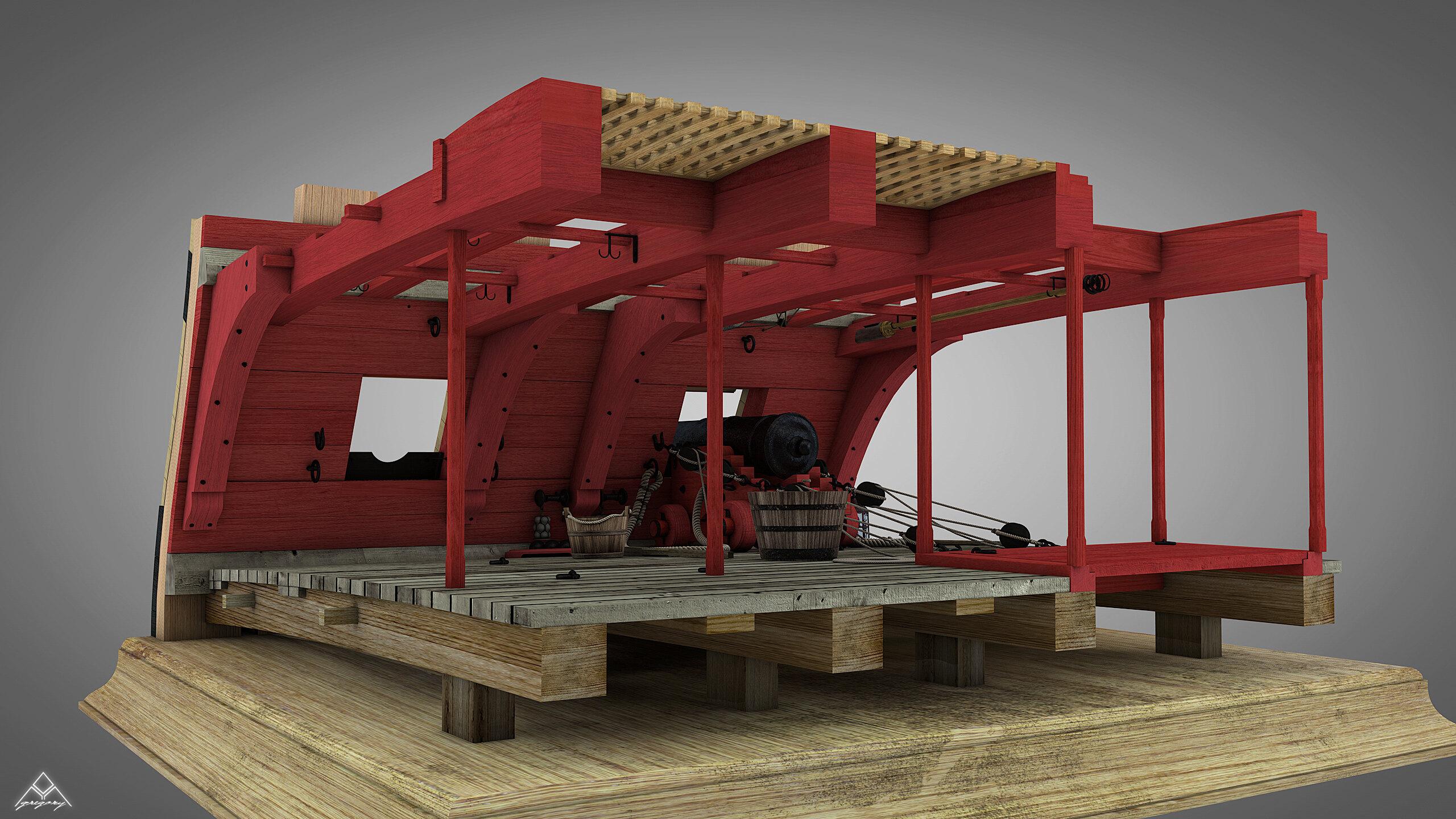 Canons de vaisseau 74 canons (Création 3D) par Greg_3D - Page 4 Rendu_63