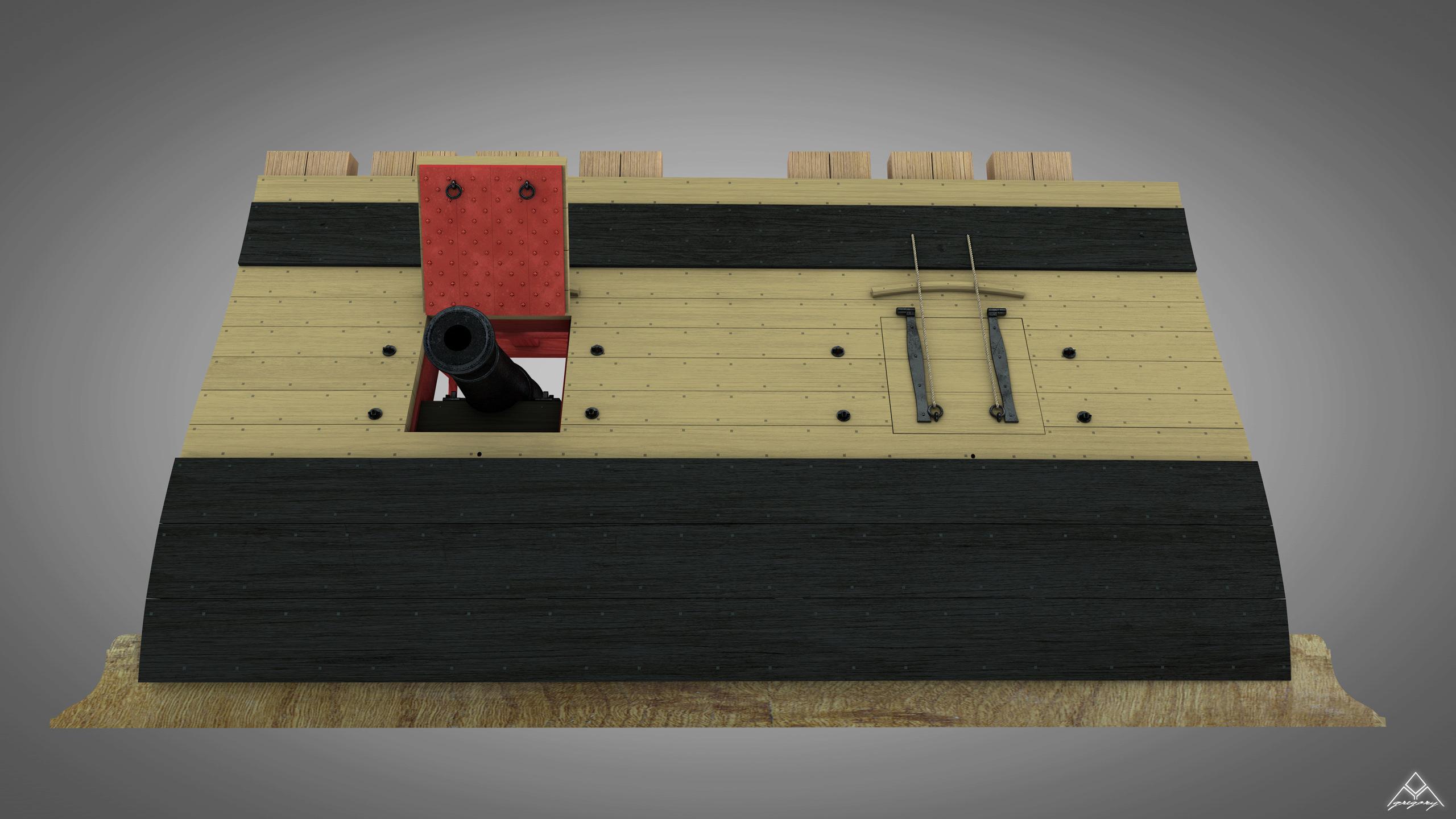 Canons de vaisseau 74 canons (Création 3D) par Greg_3D - Page 7 Rendu_78