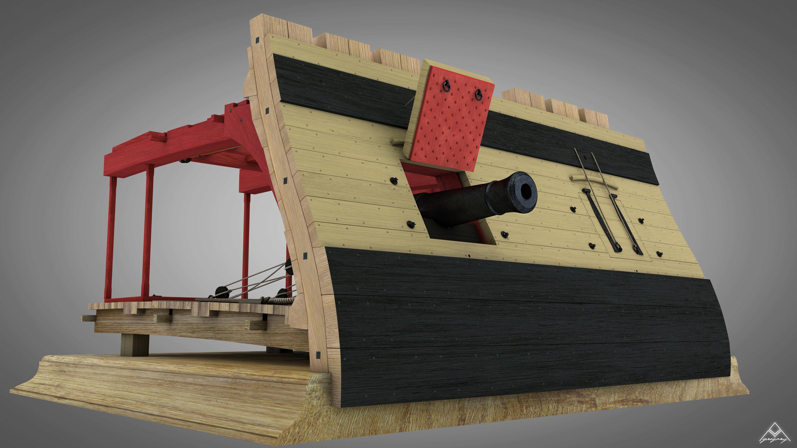 Canons de vaisseau 74 canons (Création 3D) par Greg_3D - Page 7 Rendu_79