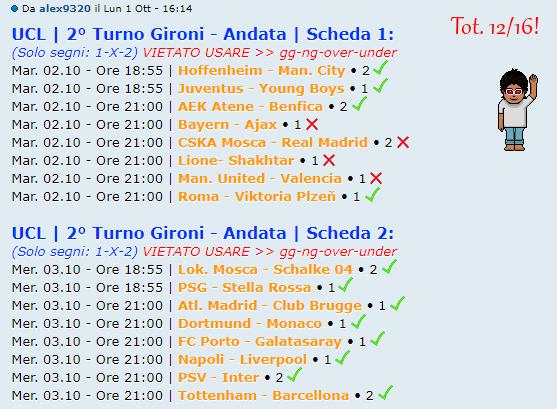 [RISULTATI] 2° Turno Gironi - Andata | UCL & UEL | Vincitori Alex110