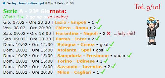 [RISULTATI] 23ª Giornata di Serie A + Altre Partite   Vincitori Bm10
