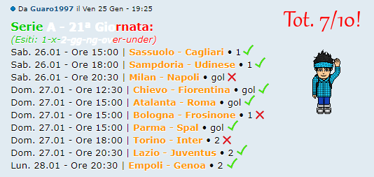 [RISULTATI] 21ª Giornata di Serie A + Altre Partite | Vincitori Guaro13
