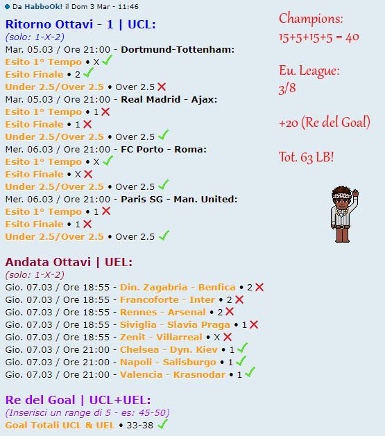 [RISULTATI] Ritorno Ottavi UCL #1 + Andata Ottavi UEL | Vincitori! Ho10