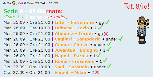 [RISULTATI] 6ª Giornata di Serie A + Altre Partite | Vincitori Kal10