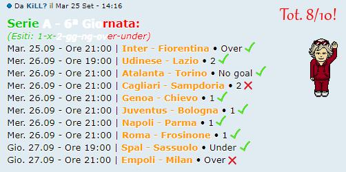 [RISULTATI] 6ª Giornata di Serie A + Altre Partite | Vincitori Kill11