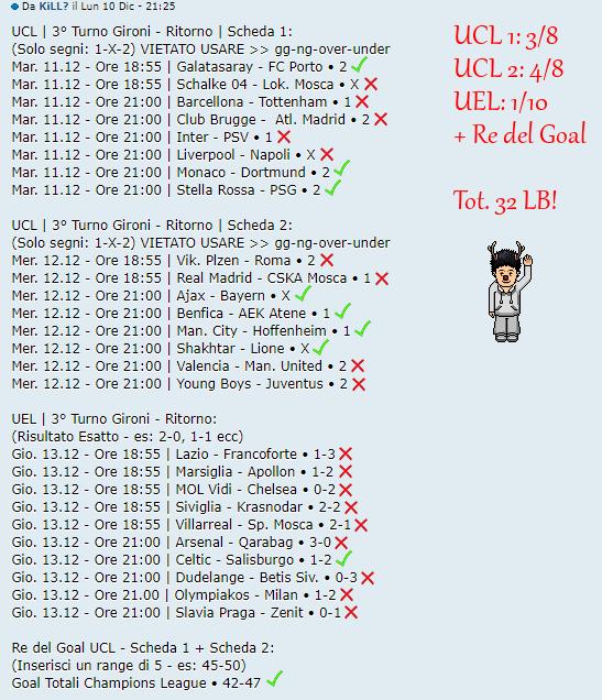 [RISULTATI] 3° Turno Gironi - Ritorno | UCL & UEL | Vincitori Kill12