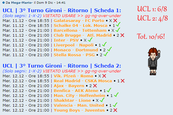 [RISULTATI] 3° Turno Gironi - Ritorno | UCL & UEL | Vincitori Ma10