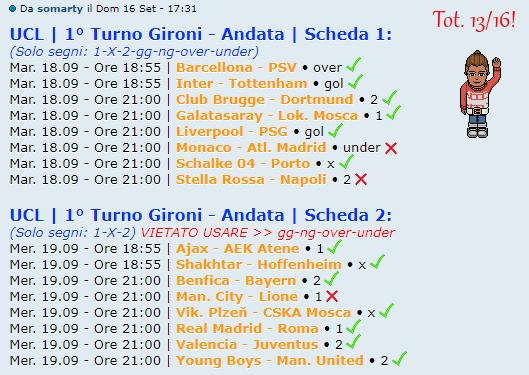 [RISULTATI] 1° Turno Gironi - Andata   UCL & UEL   Vincitori - Pagina 2 Marty10
