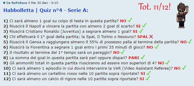 [RISULTATI] Habbolletta | Quiz #4 - Serie A | Vincitori Pokera10