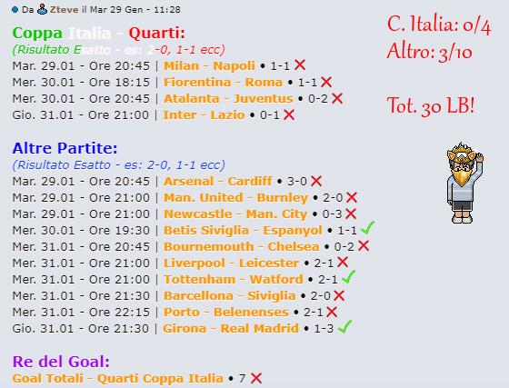 [RISULTATI] Quarti di Finale | Coppa Italia + Altro | Vincitori Steve11