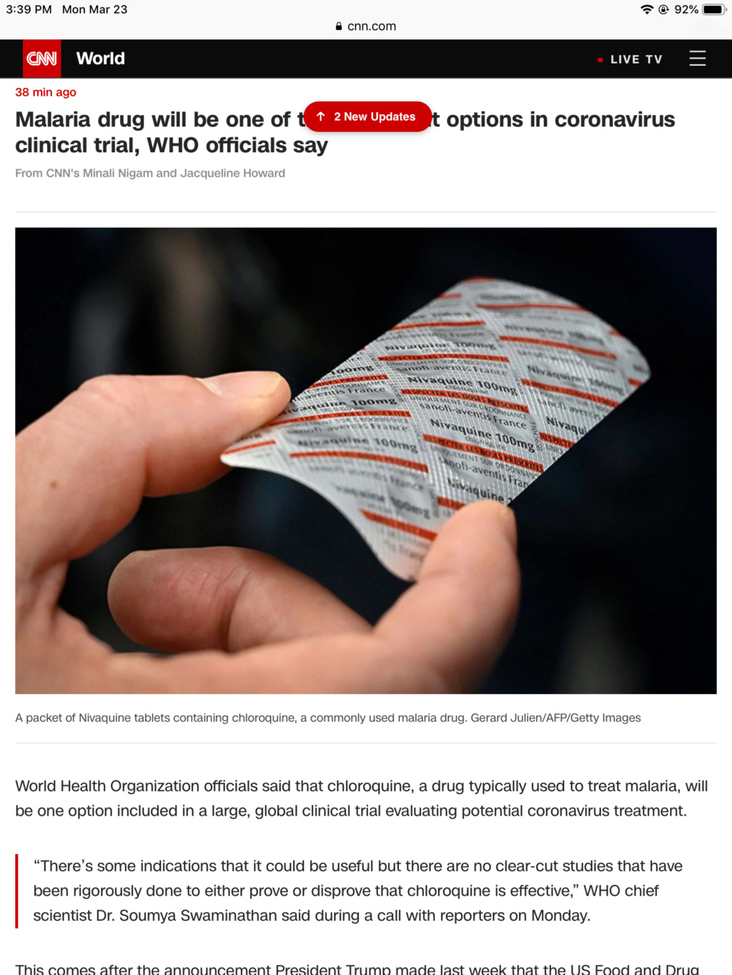 WHO said: Malaria drug will be one of the treatment options 7d4a4f10