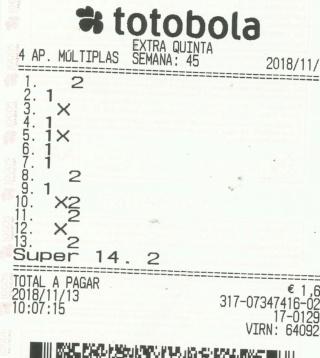 Totobola - Opiniões para o concurso 45_Extra/2018 Totob135