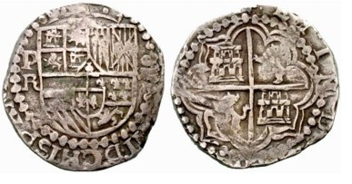8 reales macuquinos de Felipe IV de Potosí. Felipe11