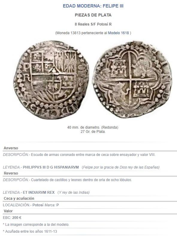 8 reales macuquinos de Felipe IV de Potosí. Felipe12