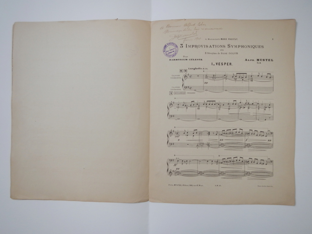 partitions de Alphonse Mustel signées avec message à Alfred Lebon  Dscn9412